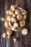 Fresh champignons in a basket on dark boards Royalty Free Stock Photography