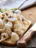 Fresh champignons mushrooms  sliced  Stock Photo