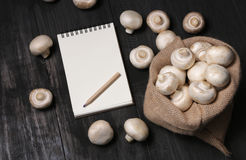 Fresh champignons in sack. Fresh champignons in brown sack royalty free stock image