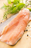 Fresh Char. As closeup on a wooden plate stock images
