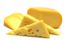 Fresh cheese. On white background Royalty Free Stock Image