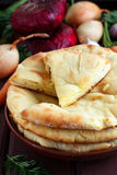 Fresh cheese bread. With vegetables Royalty Free Stock Images