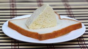 Fresh cheese with bread Stock Images