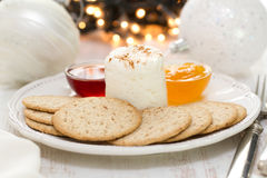 Fresh cheese with cookies and jam Stock Photography