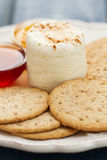 Fresh cheese with cookies and jam Royalty Free Stock Photos