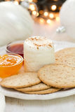 Fresh cheese with cookies and jam Stock Images