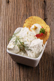 Fresh cheese and corn chips Stock Images