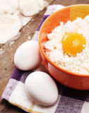 Fresh cheese cottage and eggs Royalty Free Stock Photos