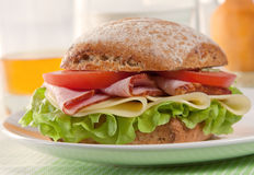 Fresh cheese & ham sandwich Royalty Free Stock Photography