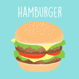 Fresh cheese hamburger graphic  illustration Royalty Free Stock Photo