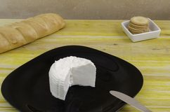 Fresh cheese over black dish and wood. Royalty Free Stock Photography