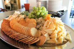 Fresh cheese party selections. With crackers Royalty Free Stock Photo