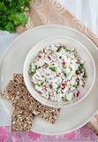 Fresh cheese salad with radish and herbs Stock Images