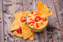 Fresh Cheese Sauce with Nachos Stock Photography