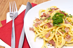 Fresh Cheese Spaetzle on plate Stock Images