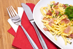 Fresh Cheese Spaetzle on plate Royalty Free Stock Photo