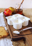 Fresh cheese, toast and honey Royalty Free Stock Image