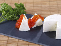 Fresh cheese & tomato marmalade tapas Stock Images