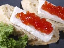 Fresh cheese & tomato marmalade tapas Royalty Free Stock Image