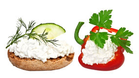 Fresh cheese with vegetables Royalty Free Stock Image