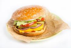 Fresh cheeseburger on a plate Stock Photos