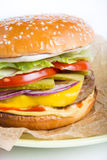 Fresh cheeseburger on a plate Royalty Free Stock Photo