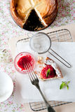 Fresh cheesecake. Delicious freshly baked cheesecake with raspberry coulis on top Stock Images