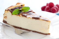 Fresh cheesecake. With mint on a plate Stock Image