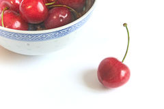 Fresh cherries. Fresh red cherries in a china bowl Stock Photo