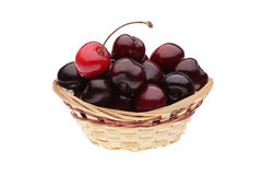 Fresh cherries. In a basket isolated on a white background Stock Image
