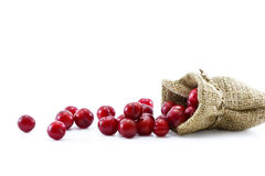 Fresh cherries asian in sack on white background Royalty Free Stock Photography