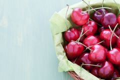 Fresh cherries in a basket Royalty Free Stock Image