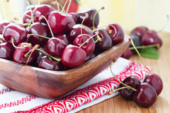 Fresh cherries in basket Royalty Free Stock Images