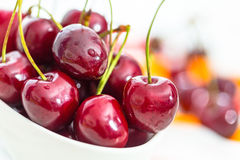 Fresh cherries in a bowl Stock Image