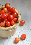 Fresh cherries in a bucket Stock Photography