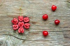 Fresh cherries. Fresh cherry on the wooden background Stock Photo
