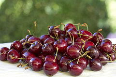 Fresh cherries closeup. Fresh cherries on a table closeup Royalty Free Stock Photography