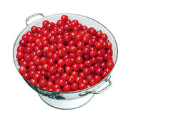 Fresh Cherries in Colander on White Royalty Free Stock Photography
