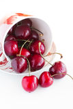 Fresh cherries in a cup. On a white background Royalty Free Stock Photo