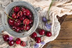 Fresh cherries on dark wooden background. Summer and harvest con Royalty Free Stock Photos