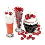 Fresh cherries and  desserts Royalty Free Stock Photography