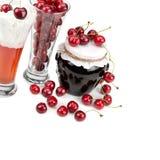 Fresh cherries and desserts. Fresh cherries and cherry desserts stock photos