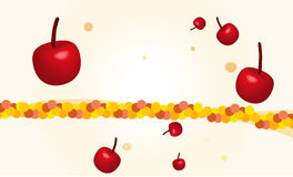 Fresh cherries, falling from top, with summer bubbles decoration. On a reusable background Royalty Free Stock Photography