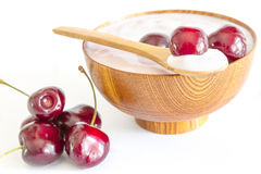 Fresh cherries fruits with yogurt Stock Photography