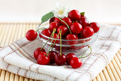 Fresh cherries in a glass cup with jasmine flower Royalty Free Stock Photo