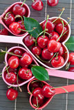 Fresh cherries in measuring cups Stock Image