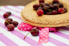 Fresh cherries outdoor stock images