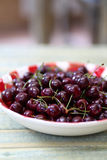 Fresh Cherries in Red Gingham Plate Royalty Free Stock Photography