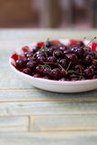 Fresh Cherries in Red Gingham Plate Stock Photos