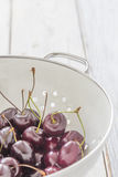 Fresh Cherries in a Sieve Stock Photo